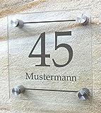 Hausnummer, Hausnummernschild aus besonders hochwertigem Arcylglas, Plexiglas. mit Wunschdruck! Beschriftet nach Ihren individuellen Vorgaben. Inkl. rostfreien Aluminiumbefestigungen. (20 x 20 cm, Dekor - Variante 2)