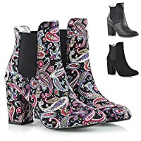 ESSEX GLAM Womens Mid High Heel Ankle Boots Ladies Pull On Chelsea Biker Elastic Gusset Shoes Size 3-8