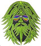 ImZauberwald Hanf Hippie Aufnäher (20cm, Schwarzlicht aktiv, handgestickt ohne PC) Regenbogen Patch Marihuana Weed Dope