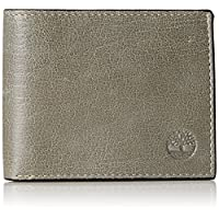 Timberland Men's Leather Wallet with Attached Flip Pocket, Diver Blue(Fine Break), One Size