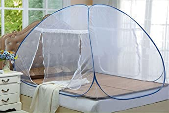 Styleys Foldable Mosquito Net for Double Bed With Soft Mesh & 2 Side Zippers for Doors (200x200cm)(Blue)