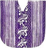 LA LEELA Damen Reiner Baumwolle handgemachte Batik Tunika lose Oben Abend Casual Dress Bikini Kimono Badebekleidung Boho entspannt fir Kurze Ärmel verschleiern Bademoden Jahrgang Short Kaftan lila