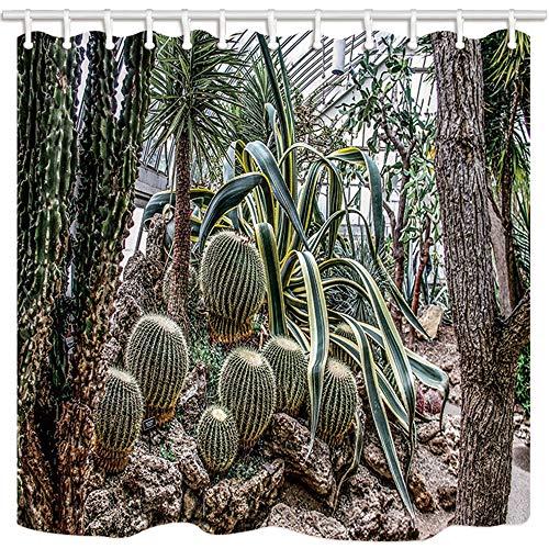 EdCott Tropical Plant Shower Curtain by Kaktus Maguey Besonderes Werk In Gewächshaus Bad Mehltau Resistant Polyester Stoff Wasserdicht Duschvorhang Set Mit Haken 71X71in