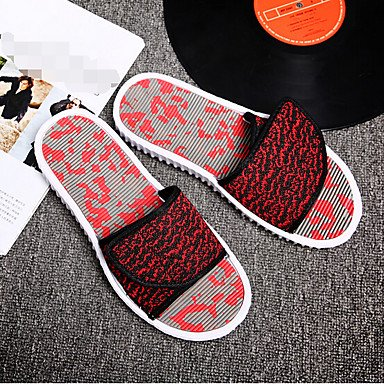 Slippers & amp da uomo;Sandali Comfort PU Estate casuale Rosso Grigio Nero sandali US7.5 / EU39 / UK6.5 / CN40