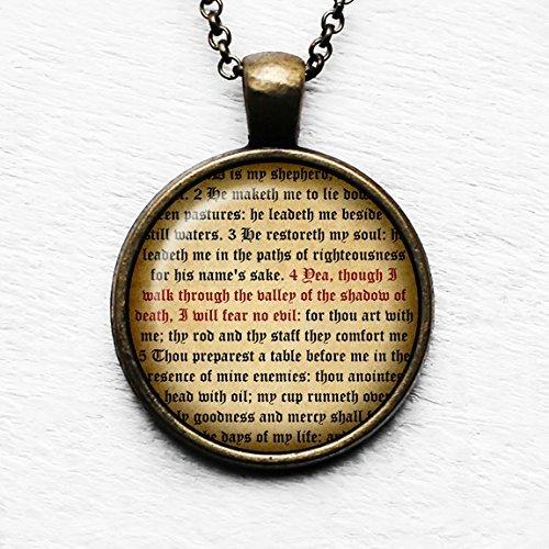 Psalm 23 Verse 4 King James Version KJV Bible Bibel Anhänger und Halskette (Bibel-vers-halskette)