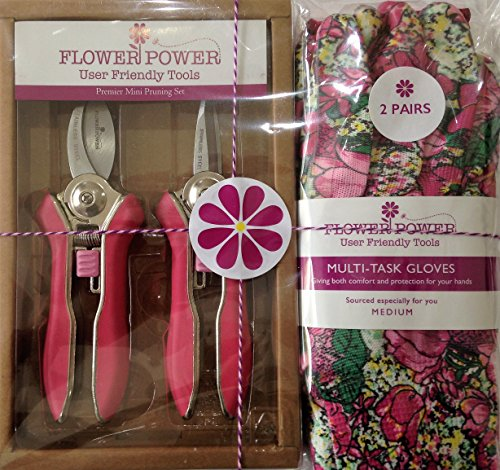 2 Pairs Ladies Gardening Gloves and Mini Pruner