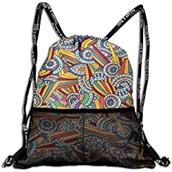 Mesh Beam Backpack Lightweight Foldable Large Capacity Drawstring Casual Rucksack, Funky and Hippie Composition with Abstract Ethnic Folkloric Elements Artistic,Unisex Fitness Bag