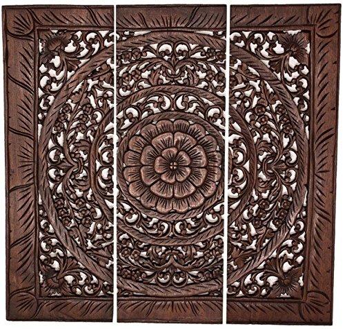 Asiatika-Online.de Wandrelief Wandbild Burma Teak Teakholz Antik Style Asien Möbel China 90x90CM BG