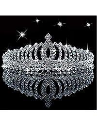 SudaTek Tiara de Princesa con Cristales Brillantes para niños, con Peine, para cumpleaños, con Purpurina