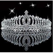 SudaTek Tiara de Princesa con Cristales Brillantes para niños, con Peine, para cumpleaños,