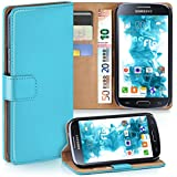 OneFlow Tasche für Samsung Galaxy S4 Hülle Cover mit Kartenfächern   Flip Case Etui Handyhülle zum Aufklappen   Handytasche Schutzhülle Zubehör Handy Schutz Bumper in Türkis