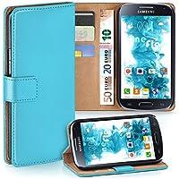 Samsung Galaxy S4 Hülle Türkis mit Karten-Fach [OneFlow 360° Book Klapp-Hülle] Handytasche Kunst-Leder Handyhülle für Samsung Galaxy S4 / S IV Case Flip Cover Schutzhülle Tasche