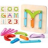 Coogam Números de Madera y Letras Kit de Construcción Forma de Juguete Educativo Montessori Reconocimiento de Color Número de
