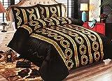 Bavary Medusa Versac Tagesdecken Set 3 tlg. Elegant und Stillvoll Neuheit und Luxus (Schwarz/Gold)