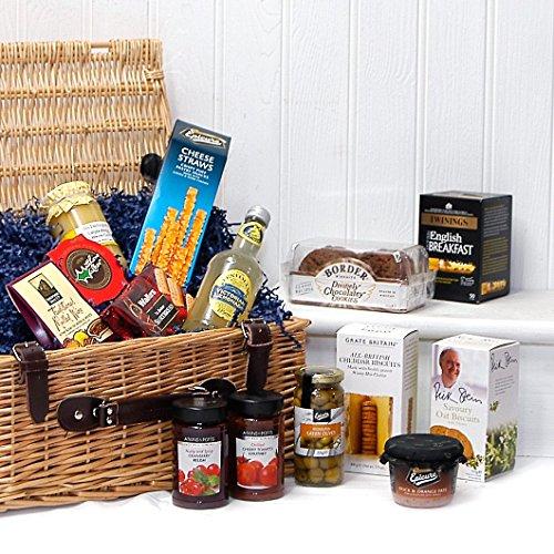 Die Gourmet Grüße Luxus Wicker Geschenk Essen Hamper Korb mit 14 Artikel - Geschenkideen für Geburtstag, Jubiläum & Glückwunsch präsentiert