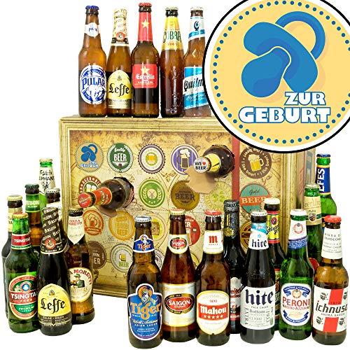Zur Geburt Junge | Bieradventskalender mit Bieren aus aller Welt | Mutter Geburt Geschenk | INKL gratis Bierbuch