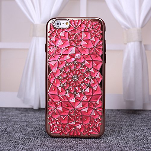 ekinhui Schutzhülle New Sun Blumen Colorful Diamond mit Strass Design TPU Soft Case Cover [Rotgold beschichtetem Rahmen] für iPhone SE 5S 6S Plus, plastik, gold, IPhone 6S Plus rose