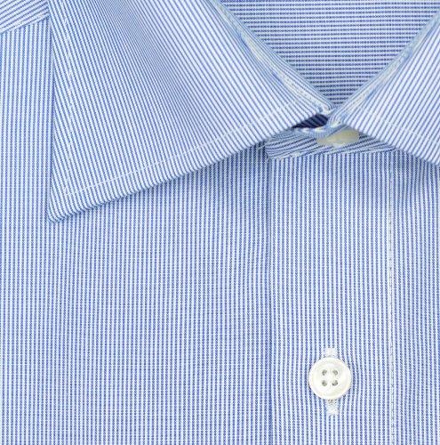 Olymp Hemd Luxor bügelfrei blau/weiss, gestreift New Kentkragen in langarm (64cm) Blau