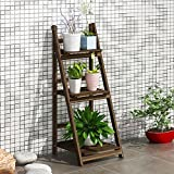 - stöckige braun Holztreppe Rack, multifunktionalen Massivholz Blume Rack, klappbarer Pflanzenständer B2