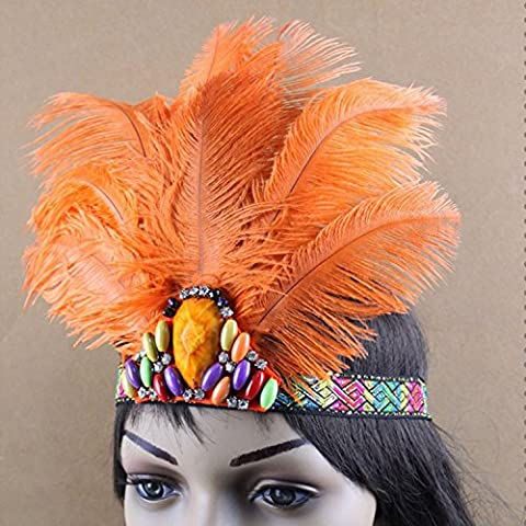 De la India de diseño de piel de avestruz con diseño de pluma de complemento para disfraz de banda para la cabeza, de las mujeres de indio y hecho a mano con diseño de pluma de velo de banda para la