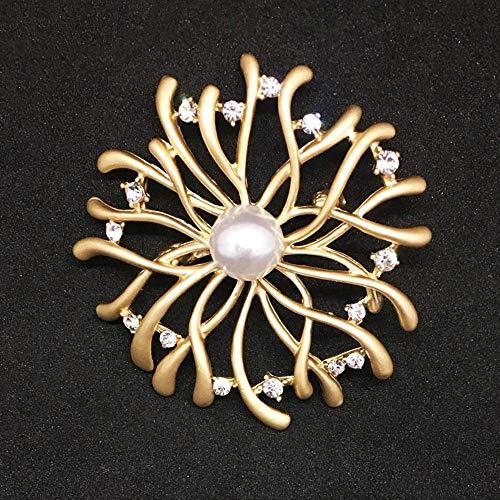 Serired Brosche Zarte Sub-Gold Kleidung Perle Nachahmung Coral verzweigen Legierung Brust Belle Stift Plaine Festival Geschenk (Perlen Trompete Kleid)