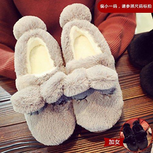 Fankou inverno caldo giovane pacchetto con fondo spesso anti-slittamento home indoor pantofole di cotone Lila