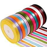 Anpro 12PCS Ruban Satin Mixte Coloris 10mm x 22m Environ Décoration DIY, Mariage,Fête Emballage Cadeau, Faire nœud Papillon...