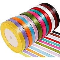 Anpro 12PCS Ruban Satin Mixte Coloris 10mm x 22m Environ Décoration DIY, Mariage,Fête Emballage Cadeau, Faire nœud Papillon