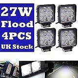 Off Road lampe de travail Projecteur LED carré 27W Blanc Conduite lampe Flood Faisceau supplémentaires...
