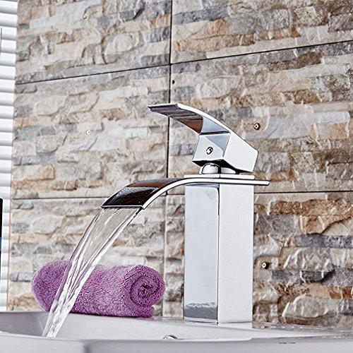 Inchant® Modern Chrome Finish Solide Messing Wasserfall Badezimmer Küche Gefäß Waschbecken Wasserhahn Single Handle Deck Mount Toilette Waschtisch Waschtisch Waschtischarmatur (Farbe: Silber) -
