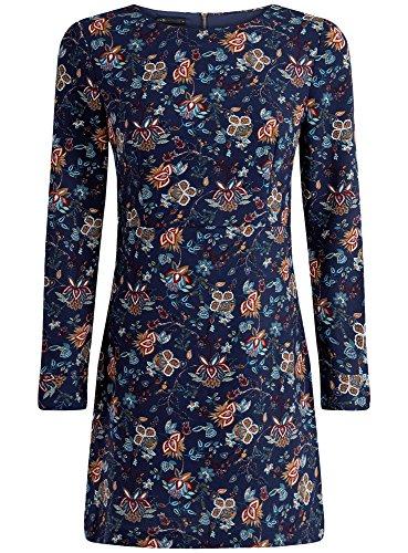 oodji Collection Femme Robe Imprimée avec Fermeture Éclair dans le Dos Bleu (7919F)