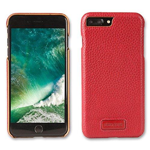 iPhone 7Plus & iPhone 8Plus Fall, Original Pierre Cardin Echtleder Handytasche Back Cover Fall für Apple iPhone 7Plus/iPhone 8Plus (Rot), Win Red Apple Iphone Snap Rot