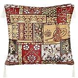 Züleyha Kissenbezug Kissenhülle Sitzkissen Kissen cushion cover orientalisch osmanische 45x45 cm (Beige-Rot 039-mahb)