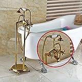 Galvanik Retro Wasserhahn freistehende Badewanne Wasserhahn Wasserhahn Dual Handlesd Badewanne Mischbatterien Boden montiert, Multi