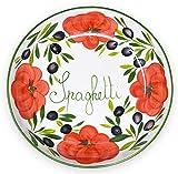 Lashuma handgemachte Nudelschale aus italienischer Keramik im Tomatendesign, runde Pastaschüssel ca. 36 cm, ca. 7 cm tief