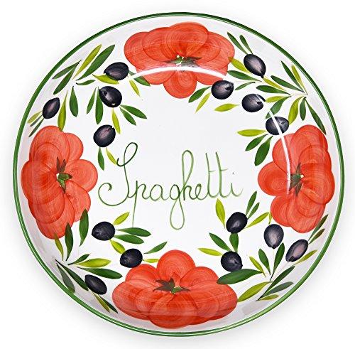 Lashuma handgemachte Nudelschale aus Italienischer Keramik im Tomatendesign, runde Pastaschüssel ca. 36 cm, ca. 7 cm tief (Pasta-schalen Keramik Italienische)