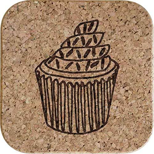 Azeeda 4 x 'Cupcake mit Streuseln' 10cm Quadratische Korkuntersetzer (CR00146272)
