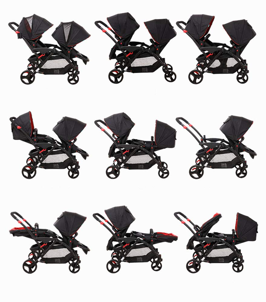 MYRCLMY Double Stroller Twins Baby Stroller,Can Sit And Detachable,Ultralight Portable Folding Backrest Push Handle Double Trolley Jogging Four-Wheel Four Seasons Universal,Black MYRCLMY *TWIN STROLLER: Getting everywhere with two little ones has never been easier, thanks to the Double Strollers; you can glide around town even when you only have one hand free to steer; you can even roll through a standard size doorway. *ADJUSTABLE BACKREST & CONNECTABLE SEATS :The backrest can adjust to fit baby's sleep posture to keep comfortable sleeping. Two seats can be connected to lengthen the seat. *SAFETY WHEELS & 5-POINT SAFETY BELTS:The springs in front wheels absorb shocks for easy to control direction and safety. The 5-point safety belt is equipped with each seat to ensure security while keeping your baby fit to the safety belt to feel comfortable. 5