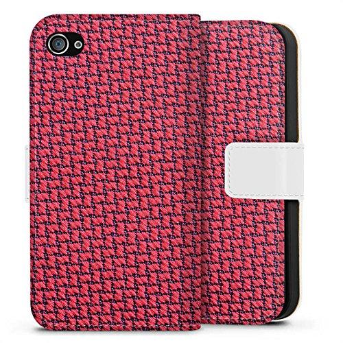 Apple iPhone X Silikon Hülle Case Schutzhülle Muster Kacheln Rot Sideflip Tasche weiß