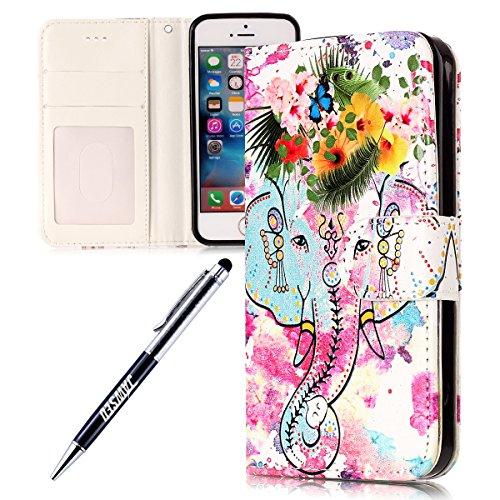 iPhone-5S-Custodia-Cover-iPhone-5-JAWSEU-iPhone-SE-Custodia-Cover-Wallet-Pouch-Lusso-Liscio-Marmo-Design-Creativo-Custodia-per-Apple-iPhone-55SSE-Telefono-Custodia-Shock-Absorption-con-Morbido-Silicon