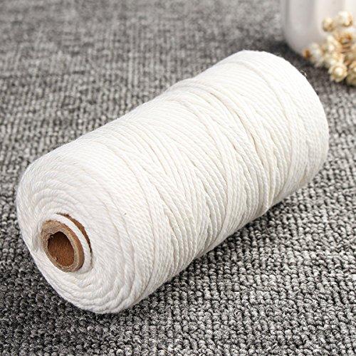 Hitommy 2mm x 200m cavo beige bianco ritorto 100% puro cotone naturale corda DIY Crafts Macrame string, Infradito colorati estivi, con finte perline