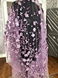kn31Lace 3D Blumen Brautschmuck/Hochzeit Kleid bestickt Spitze Stoff scallop Trim Aufnäher 140Breite, lavendel, 0.5 yards