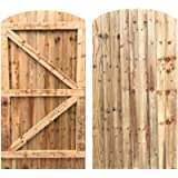 Feather Edge Arch Top Fully Framed Braced Strong Garden Gate Driveway Fence Wood Timber Available in 4 sizes (180cm tall…