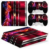 46 North Design Playstation 4 PS4 Pro Folie Skin Sticker Konsole Red Fire aus Vinyl-Folie Aufkleber Und 2 x Controller folie