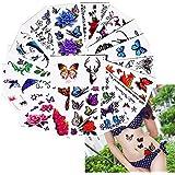 25hojas de color cuerpo, diseño de flores y mariposas patrón diseño temporal Tattoo Sticker