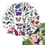 25fogli colorati corpo tatuaggio fiore farfalla modello design tatuaggi temporanei