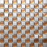Plata Piedras de Strass Mosaico de vidrio de acero inoxidable Azulejos de mosaico color mixto acero inoxidable mosaico 300*300mm Cocina backsplash / ducha de pared de la pared de la pared / Hotel pasillo pared de la frontera / piso residencial de piso y aplicaciones de la pared SB015-14 (11 pieza/㎡)