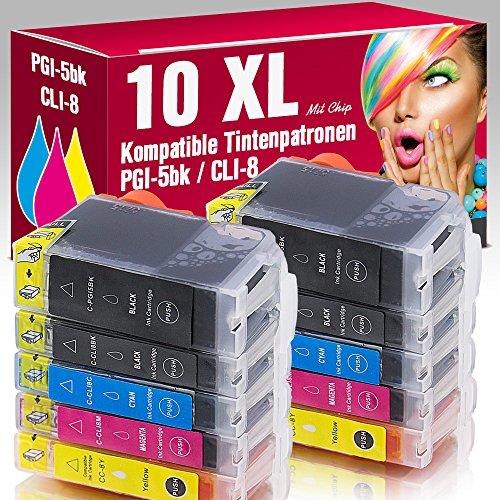 ms-point® 10 kompatible Patronen mit Chip für Canon Pixma IP4200 IP4200X IP4300 IP4500 IP4500X IP5200 IP5200R IP5300 IP6600 IP6600D IP6700D MP500 MP530 MP600 MP600R MP610 MP800 MP800R MP810 MP830 MP970 MX850 Pro9000 Pro9000MarkII PGI-5BK CLI-8BK CLI-8C CLI-8M CLI-8Y