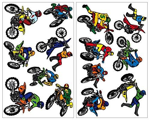 14-teiliges Motocross Wandtattoo Set Cross Motorrad Moped in 4 Größen (2x27x43cm mehrfarbig)