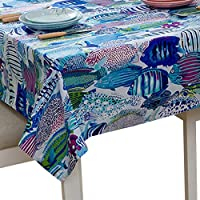 YOUJIA Rectangular Tablecloth Mediterranean Style Marine Organisms Dustproof Table Cloth Party Hotel Café Table Cover (Marine Blue, 90 * 90cm)
